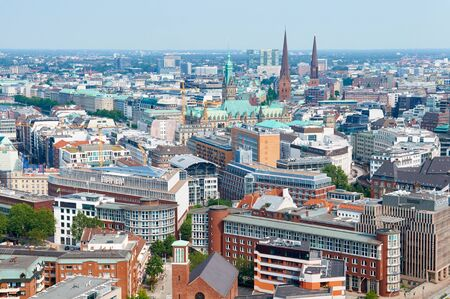 famous industries: HAMBURG, GERMANY - AUGUST 14, 2015: Aerial view on Hamburg from St. Michaels Church, is the second largest city in Germany