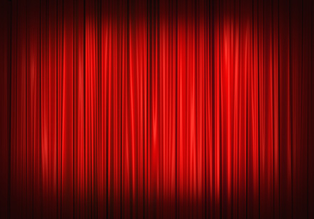 Red stage curtain on theater, illustration Imagens