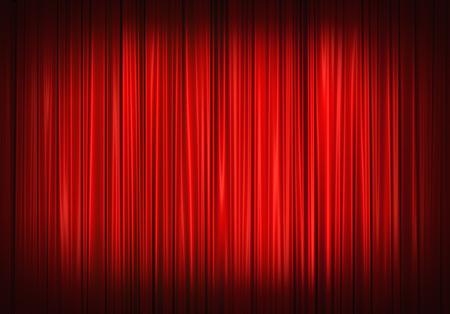 Tenda rossa della fase sul teatro, illustrazione Archivio Fotografico - 45489307