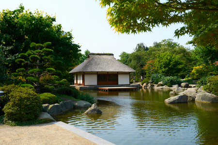 hectares: HAMBURG, GERMANY - AUGUST 14, 2015: Beautiful view of Japanese Garden at Planten un Blomen park. Planten un Blomen is an urban park with a size of 47 hectares