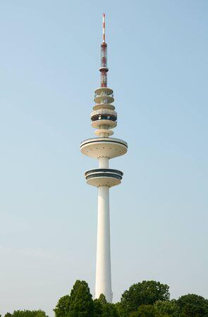 hertz: HAMBURG, GERMANY - AUGUST 14, 2015: Heinrich-Hertz-Tower, was built between 1965 and 1968, height of 279.8 metres and weighs 43,000 tonnes Editorial
