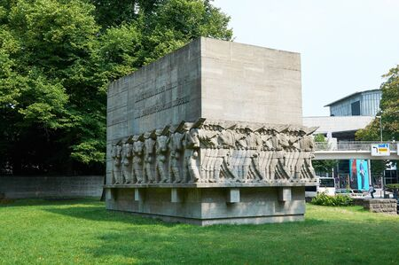 stephansplatz: HAMBURG, GERMANY - AUGUST 14, 2015: The monument to soldiers killed during the First world war in Stephansplatz