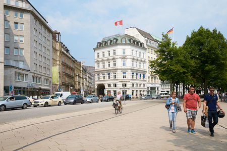 urban road: HAMBURG, GERMANY - AUGUST 14, 2015: View of street in center, Hamburg is the second largest city in Germany and the eighth largest city in the EU Editorial
