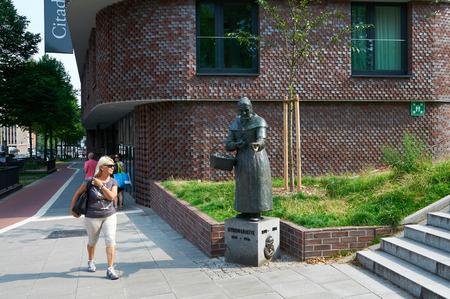 erected: HAMBURG, GERMANY - AUGUST 14, 2015: Bronze statue to Zitronenjette, the statue was erected in 1986.