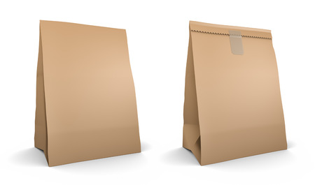 paper bag: Paper bag set, isolated on white background
