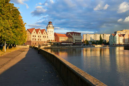 ethnographic: KALININGRAD, RUSSIA - SEPTEMBER 29, 2015: Ethnographic and trade center, embankment of the Fishing Village