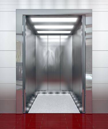 lift gate: Modern elevator with opened door - 3d illustration