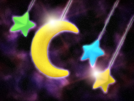 Toy yellow moon and color stars, illustration with high detail