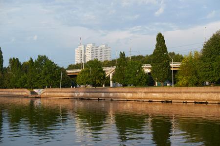 Evening embankment of the river Pregel. Kaliningrad