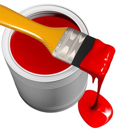 Paint can and paintbrush, isolated on white