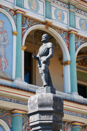 wielkopolskie: POZNAN, POLAND - AUGUST 20, 2015: Pranger statue, Old Market Square at the city center, Stary Rynek Editorial