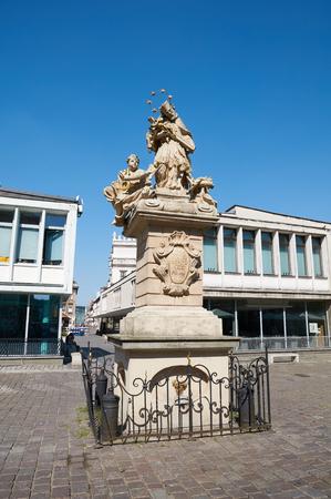 stary: POZNAN, POLAND - AUGUST 20, 2015: Statue of St. John Nepomucene, Old Market Square at the city center, Stary Rynek