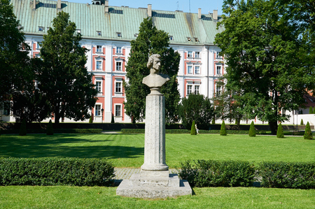 frederic chopin monument: POZNAN, POLAND - AUGUST 20, 2015: Fryderyk Chopins (Frederic Chopin) monument in Frederic Chopin Park, was a Polish composer and virtuoso pianist of the Romantic era