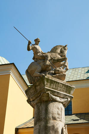 wielkopolskie: POZNAN, POLAND - AUGUST 20, 2015: A memorial statue to Poznans Cavalry, shows a soldier on horseback armed with a spear