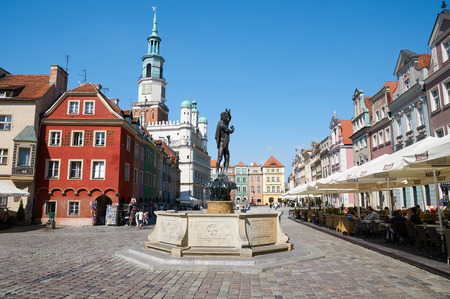 POZNAN, POLAND - AUGUST 20, 2015: Sculpture of Apollo, Old Market Square at the city center, Stary Rynek
