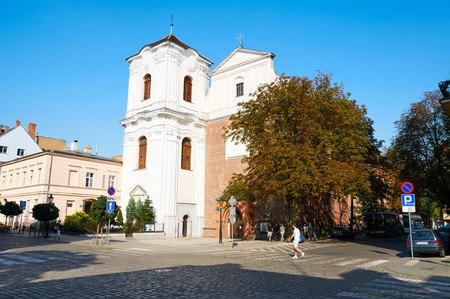 wielkopolskie: POZNAN, POLAND - AUGUST 20, 2015: Church of the sacred Heart of Jesus and Mother of God of Consolation and the convent of the Jesuits