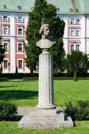 frederic: POZNAN, POLAND - AUGUST 20, 2015: Fryderyk Chopins (Frederic Chopin) monument in Frederic Chopin Park, was a Polish composer and virtuoso pianist of the Romantic era