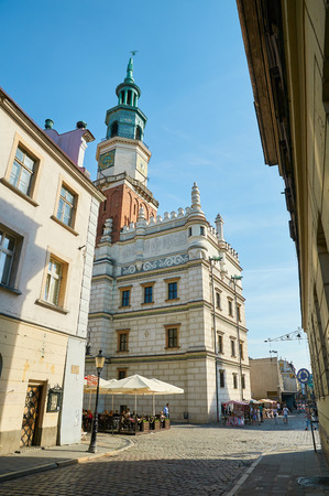 stary: POZNAN, POLAND - AUGUST 20, 2015: Historical city center, old town streets near the Old Market Square (Stary Rynek) Editorial