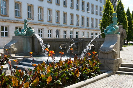 wielkopolskie: POZNAN, POLAND - AUGUST 20, 2015: Kronthal fountain or fountain with dolphins, located at the junction of Marcinkowskiego Avenue and 23 Lutego Street Editorial