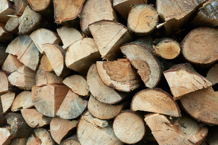 Background of dry chopped firewood logs in a stack Standard-Bild