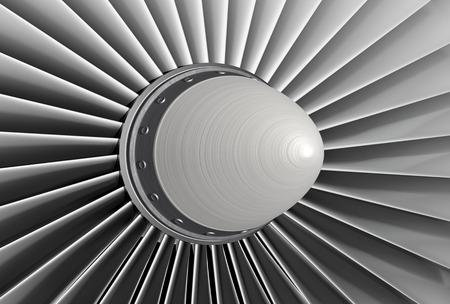 turbine engine: Jet engine, turbine blades of airplane, 3d illustration