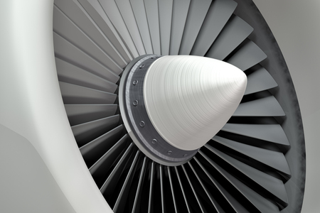 turbina: Motor a reacción, álabes de la turbina de avión, ilustración 3d Foto de archivo