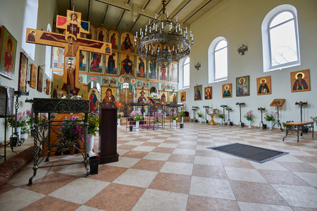 RYBACHY, RUSSIA - NOVEMBER 6, 2015: Interior of the Orthodox church of St. Sergius of Radonezh in the village of Rybachy in Curonian spit Editorial