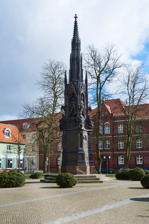 GREIFSWALD, GERMANY - APRIL 2, 2015: Rubenow Memorial, was erected in 1856 for celebration of the 400th anniversary of the university in honour of founder and first rector Heinrich Rubenow Editorial