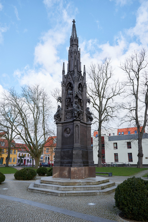 heinrich: GREIFSWALD, GERMANY - APRIL 2, 2015: Rubenow Memorial, was erected in 1856 for celebration of the 400th anniversary of the university in honour of founder and first rector Heinrich Rubenow Editorial