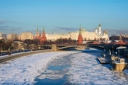 View of Moscow Kremlin in the winter, Russia Standard-Bild