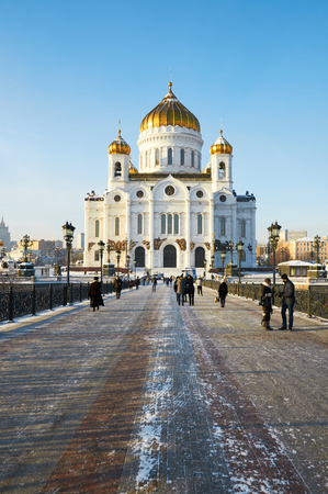 MOSCOW, RUSSIA - JANUARY 11, 2016: Cathedral of Christ the Savior in the winter