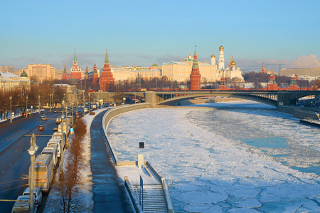 MOSCOW, RUSSIA - JANUARY 11, 2016: View of Moscow Kremlin in the winter and Bolshoy Kamenny Bridge