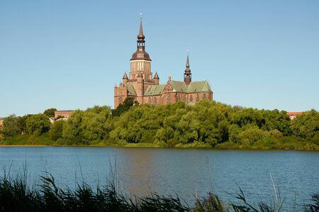 STRALSUND, GERMANY - AUGUST 13, 2015: St. Mary's Church (Marienkirche), Hanseatic city of Stralsund, Mecklenburg Western Pomerania