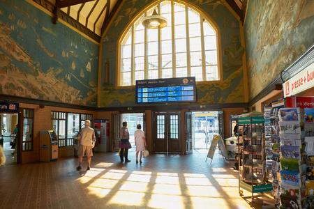 STRALSUND, GERMANY - AUGUST 13, 2015: Inside Central train station, Stralsund, Mecklenburg-Western Pomerania, Germany