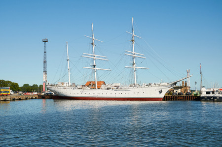 STRALSUND, GERMANY - AUGUST 13, 2015: Sailing ship Gorch Fock I at the baltic sea harbor of Stralsund