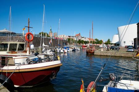 STRALSUND, GERMANY - AUGUST 13, 2015: Streets of historical center, harbor of Stralsund, Mecklenburg-Vorpommern, Germany