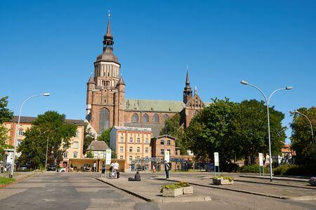 mecklenburg western pomerania: STRALSUND, GERMANY - AUGUST 13, 2015: St. Marys Church (Marienkirche), Hanseatic city of Stralsund, Mecklenburg Western Pomerania