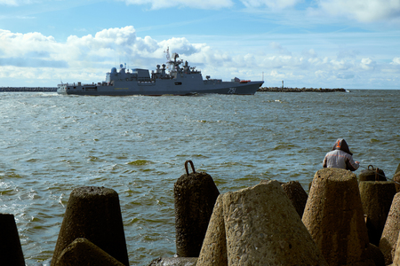 BALTIYSK, KALININGRAD REGION, RUSSIA - MARCH 19, 2016: Admiral Essen - the second patrol ship of project 11356, is named in honor of Admiral of the Russian fleet
