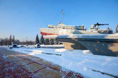 KALININGRAD, RUSSIA - JANUARY 21, 2016: World War II memorial Torpedo boat Komsomolets. Work of sculptor Morgunov in 1978 Editorial