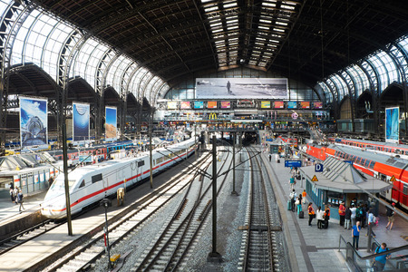 arrival: HAMBURG, GERMANY - AUGUST 13, 2015: Platforms in the main train station of Hamburg Editorial