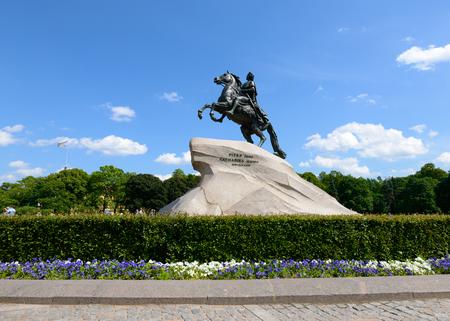 SAINT PETERSBURG, RUSSIA - JUNE 17, 2016: Monument of Russian emperor Peter the Great, known as The Bronze Horseman, Saint Petersburg