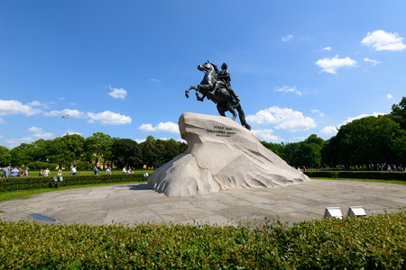 peter the great: SAINT PETERSBURG, RUSSIA - JUNE 17, 2016: Monument of Russian emperor Peter the Great, known as The Bronze Horseman, Saint Petersburg