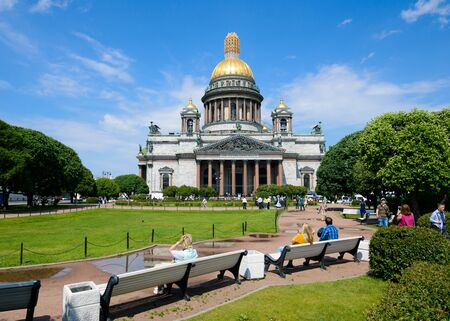SAINT PETERSBURG, RUSSIA - JUNE 17, 2016: View of Saint Isaac's cathedral or Isaakievskiy Sobor, architect Auguste de Montferrand. Editorial