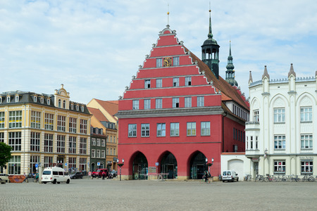 mecklenburg western pomerania: GREIFSWALD, GERMANY - MAY 23, 2016: Streets of historical center, view of the old part of the city, Mecklenburg-Vorpommern, Germany
