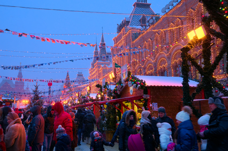 MOSCOW, RUSSIA - JANUARY 9, 2016: Moscow decorated for New Year and Christmas holidays. GUM fair on Red Square