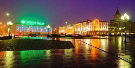 KALININGRAD, RUSSIA - DECEMBER 18, 2016:  Victory (Pobedy) square - the main city square in new year illumination