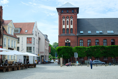 GREIFSWALD, GERMANY - MAY 23, 2016: Streets of historical center, view of the old part of the city, Mecklenburg-Vorpommern, Germany