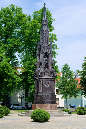 GREIFSWALD, GERMANY - MAY 23, 2016: Memorial, was erected in 1856 for celebration of the 400th anniversary of the university in honour of founder and first rector Heinrich Rubenow 新聞圖片