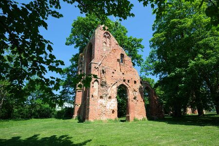 Ruin of the monastery Eldena. Greifswald 版權商用圖片 - 69765606