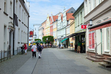 greifswald: GREIFSWALD, GERMANY - MAY 23, 2016: Streets of historical center, view of the old part of the city, Mecklenburg-Vorpommern, Germany